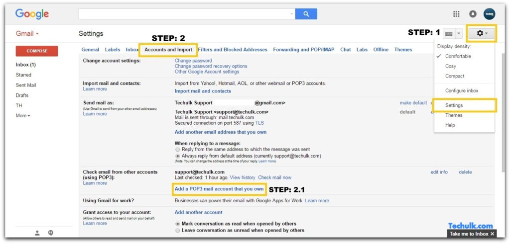 How to integrate Gmail with hostgator email