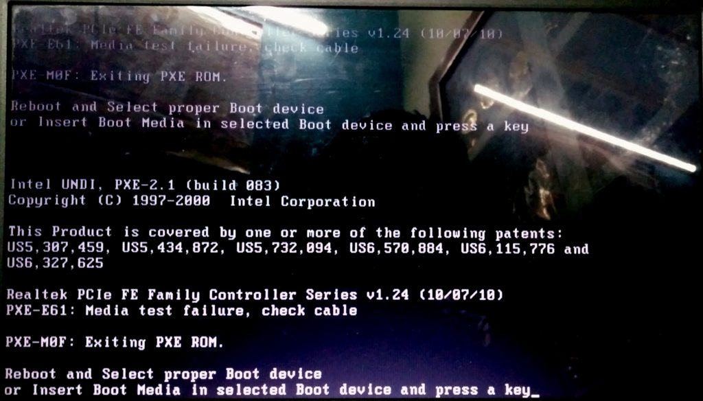 PXE-E61 PXE-M0F Error