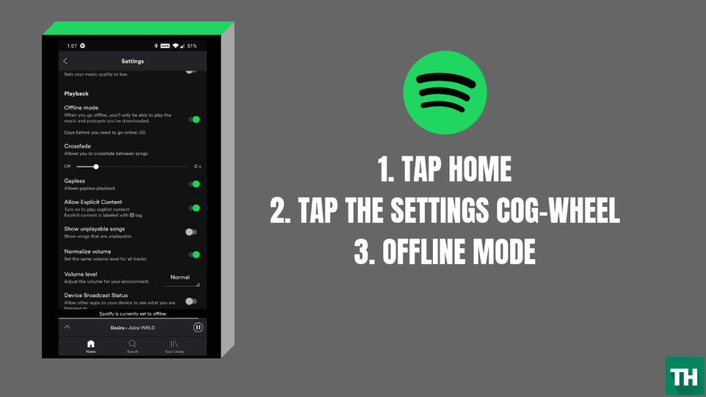 Play spotify offline on android
