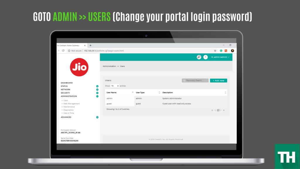 jio fiber login default gateway password