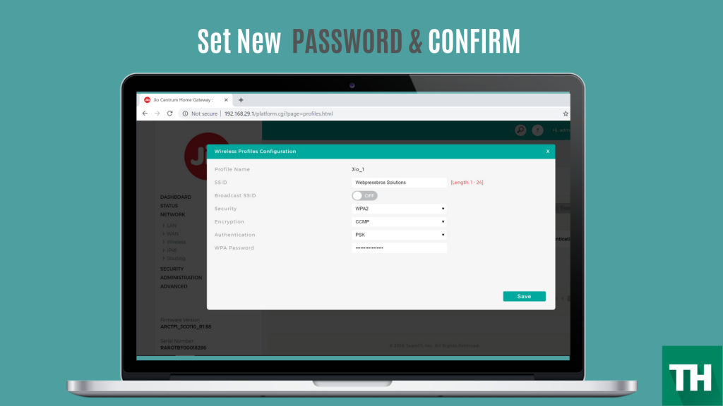 jio fiber login password change screen