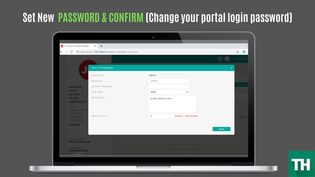 jio fiber login gateway admin portal change