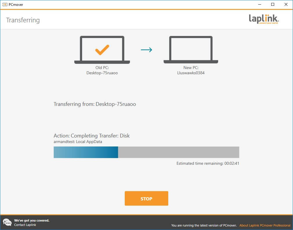 Laplink PC Mover Transfer data to new windows 10 PC
