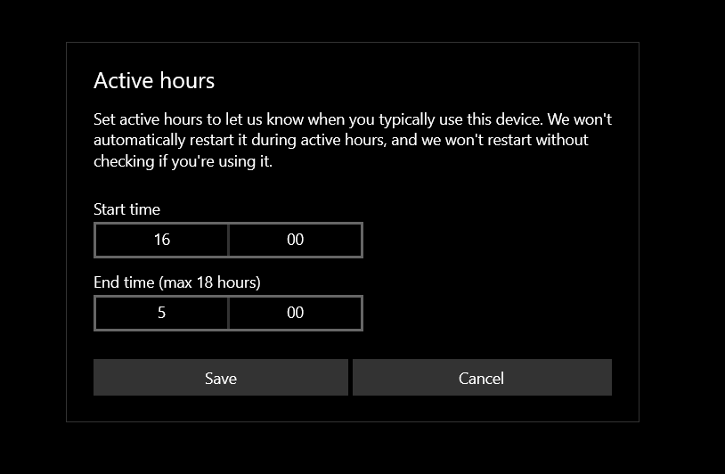 active hours configuration for update in Windows 10