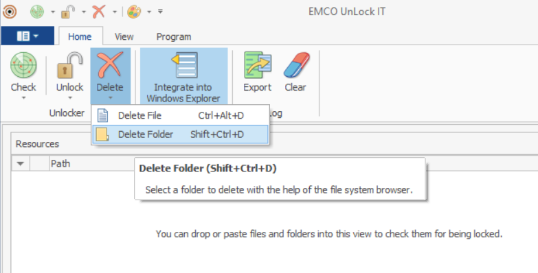 Deleting file and folder from Unlock It Dashboard