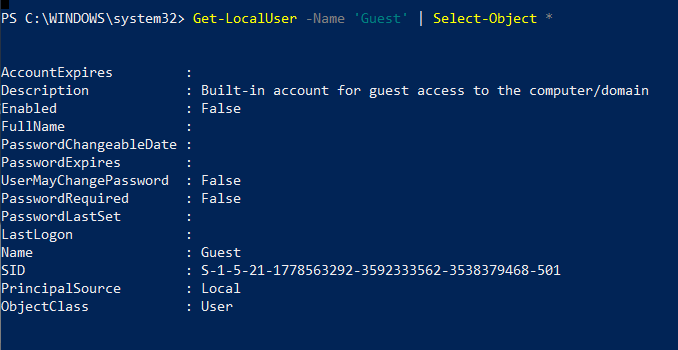 Get local user by name in Powershell