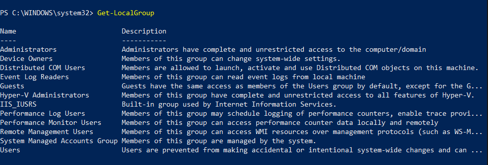 Get localgroup command