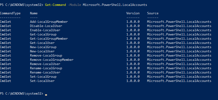 Manage local accounts with powershell