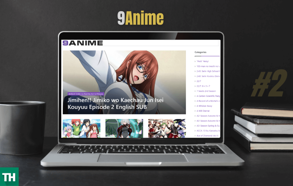 9Anime Japanese anime streaming website on a laptop browser