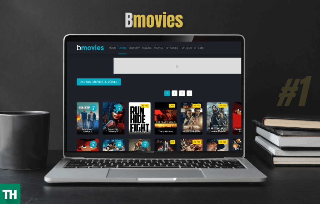 A laptop with bmovies opened on a browser alluc alternatives