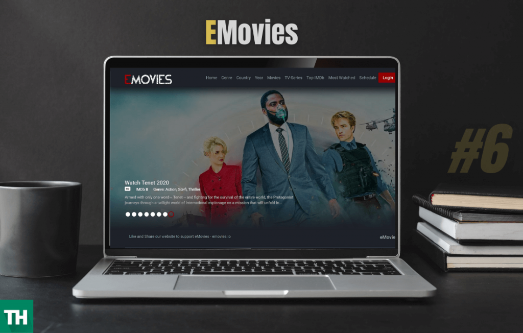 Emovies on a laptop browser