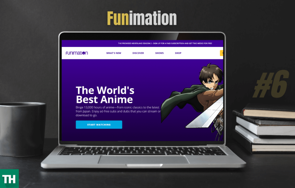 Funimation website on a laptop looking a better kissanime alterntative