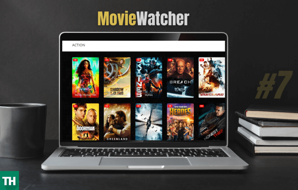 Moviewatcher open on a laptop that is a website like alluc