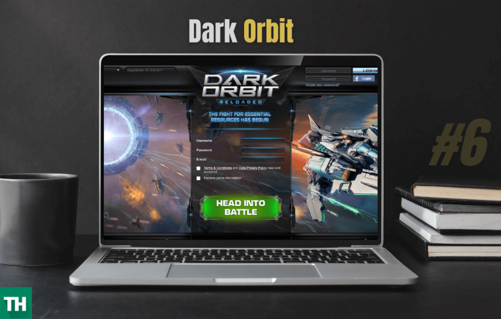 Darl Orbit another games like eve online on a laptop screen