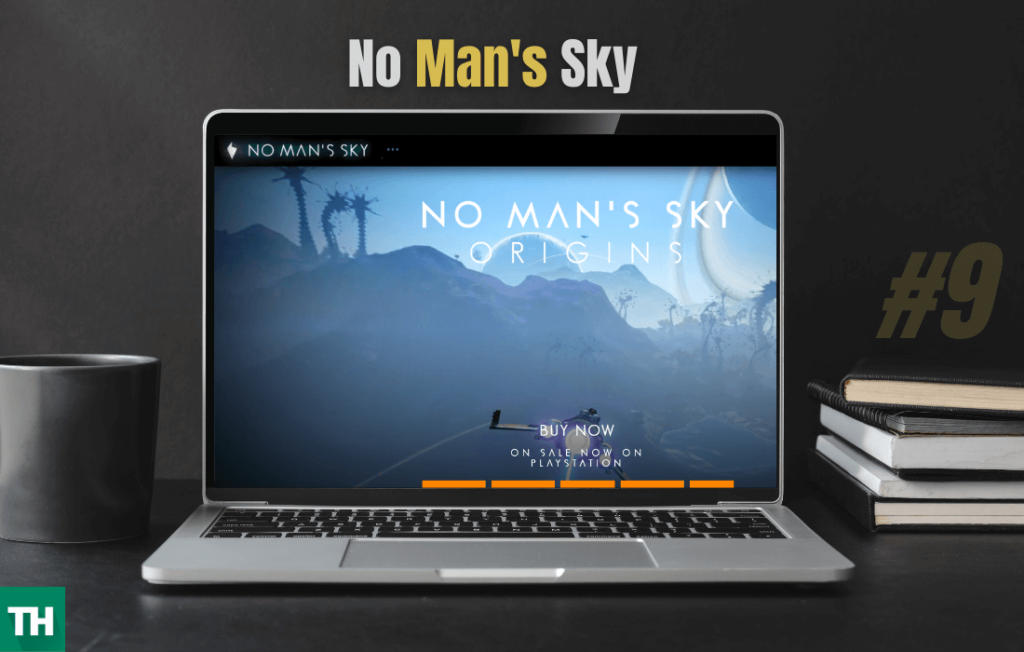 No Man's sky game on a laptop