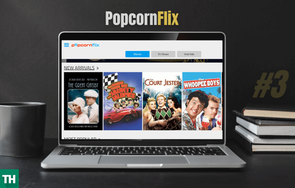 popcornflix on a laptop browser that is an alluc alternative