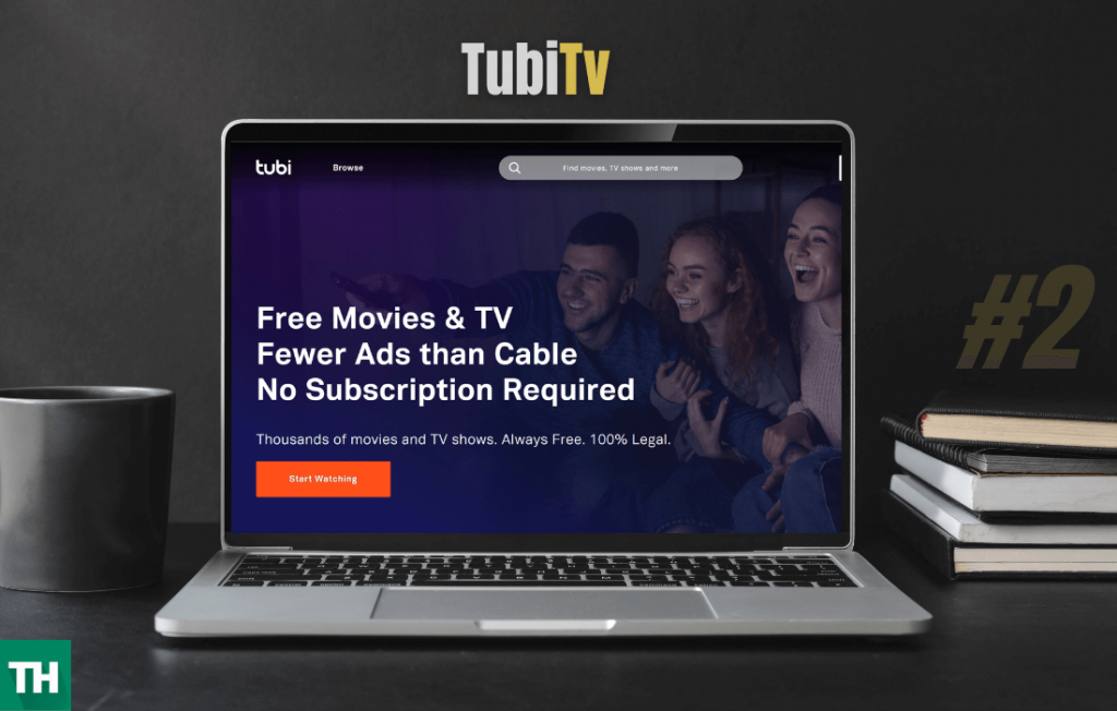 A laptop with TubiTv Opened on a browser which is a website like alluc