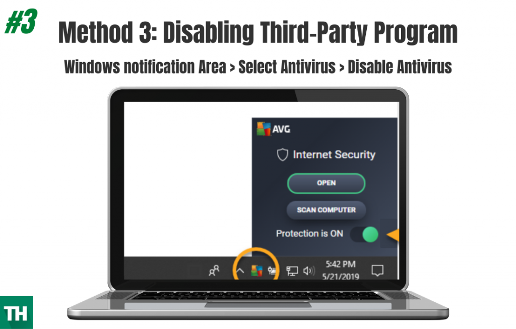Disabling Antivirus to fix the error on a windows Laptop