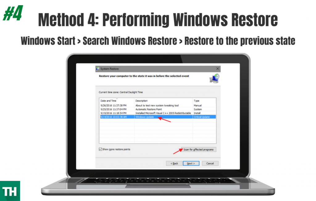 Performing Windows Restore to fix windows error