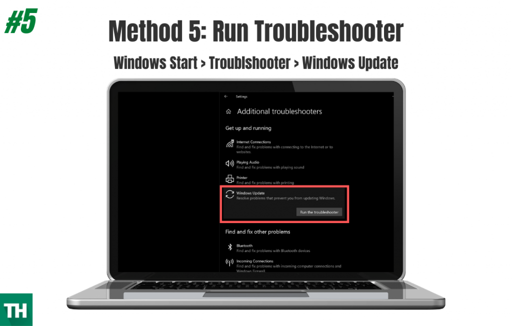 Running Windows Troubleshooter to fix error code 0x80004004