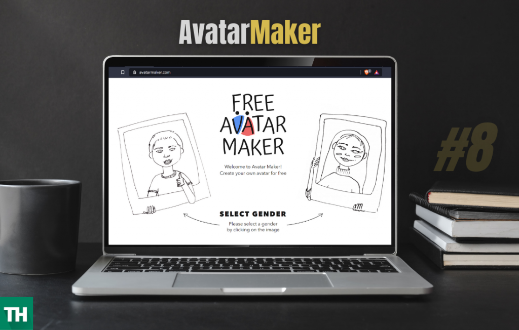 Avatar Maker Homepage on a laptop