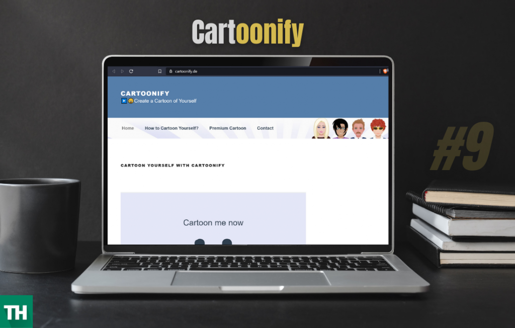 Cartoonify a tektek alternative website on a laptop screen