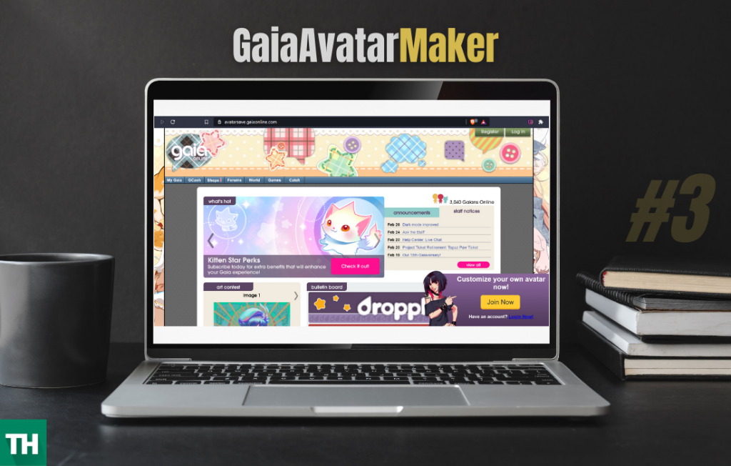 Gaia Avatar Maker website on a laptop screen