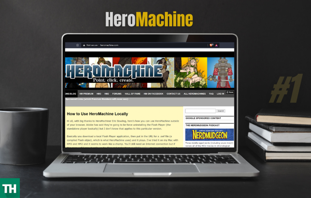 HeroMachine Homepage on a laptop screen