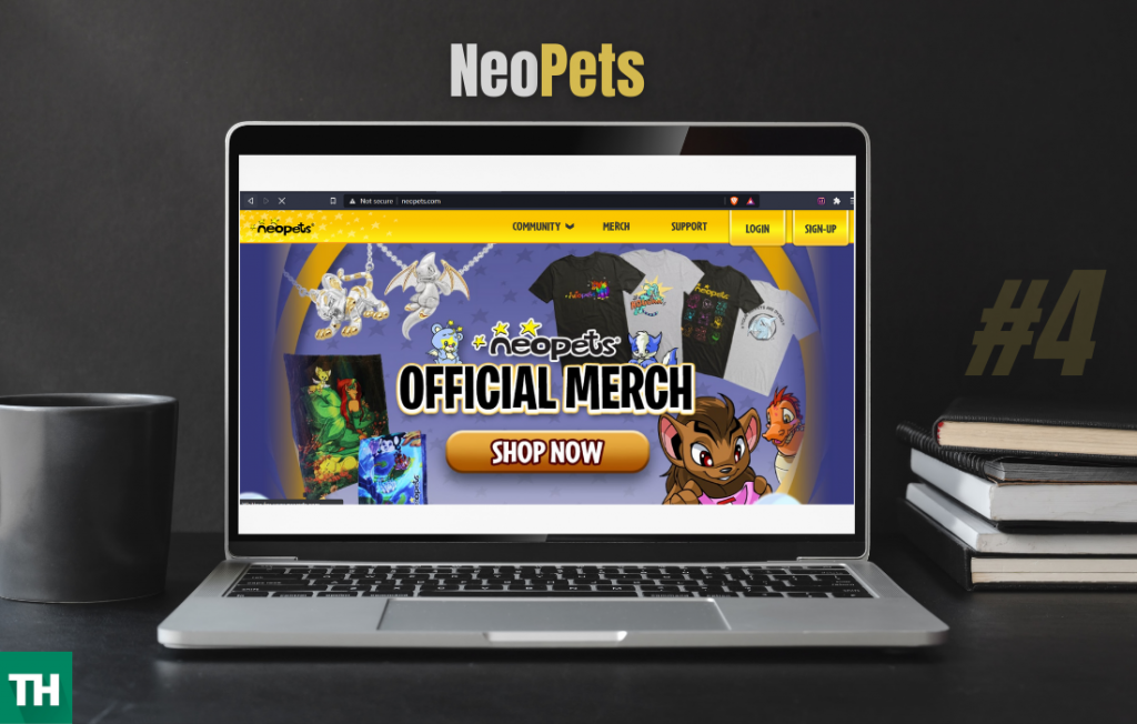 Neo Pets a tektek alternative website on a laptop screen