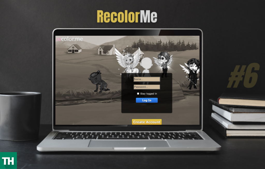 Recolorme homepage on a laptop screen
