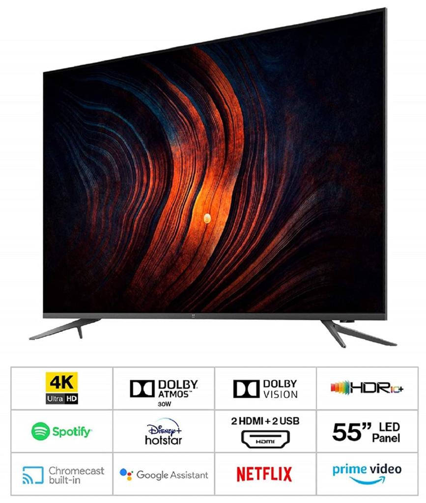 OnePlus U 4k best tv under 55000 tv